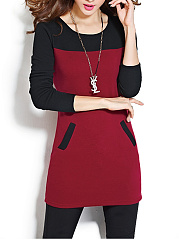 Color Block Fleece Lined Mini Bodycon Dress