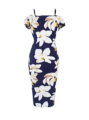 Open Shoulder Floral Printed Bodycon Dress