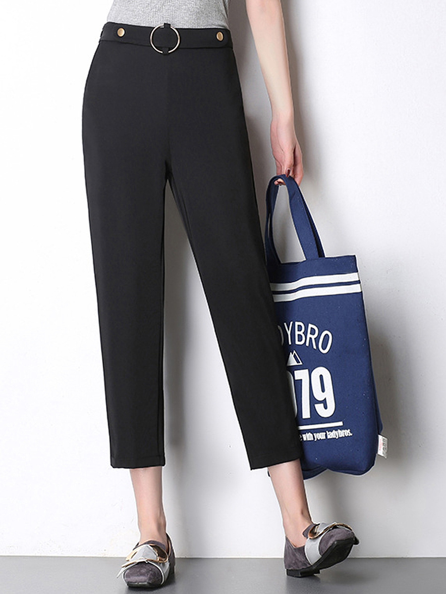 Solid Pocket Slim-Leg Cropped Casual Pants