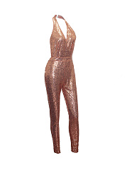 Sparkling Halter Backless Glitter Slim-Leg Jumpsuit