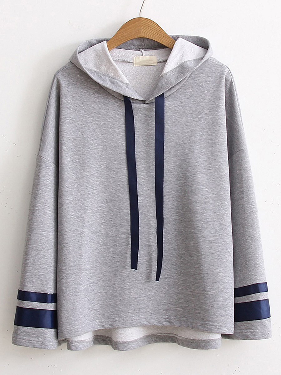 Casual Loose Drawstring Striped Hoodie