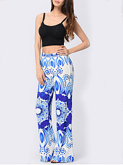 Awesome Printed Wide-Leg  Mid-Rise Casual Pants