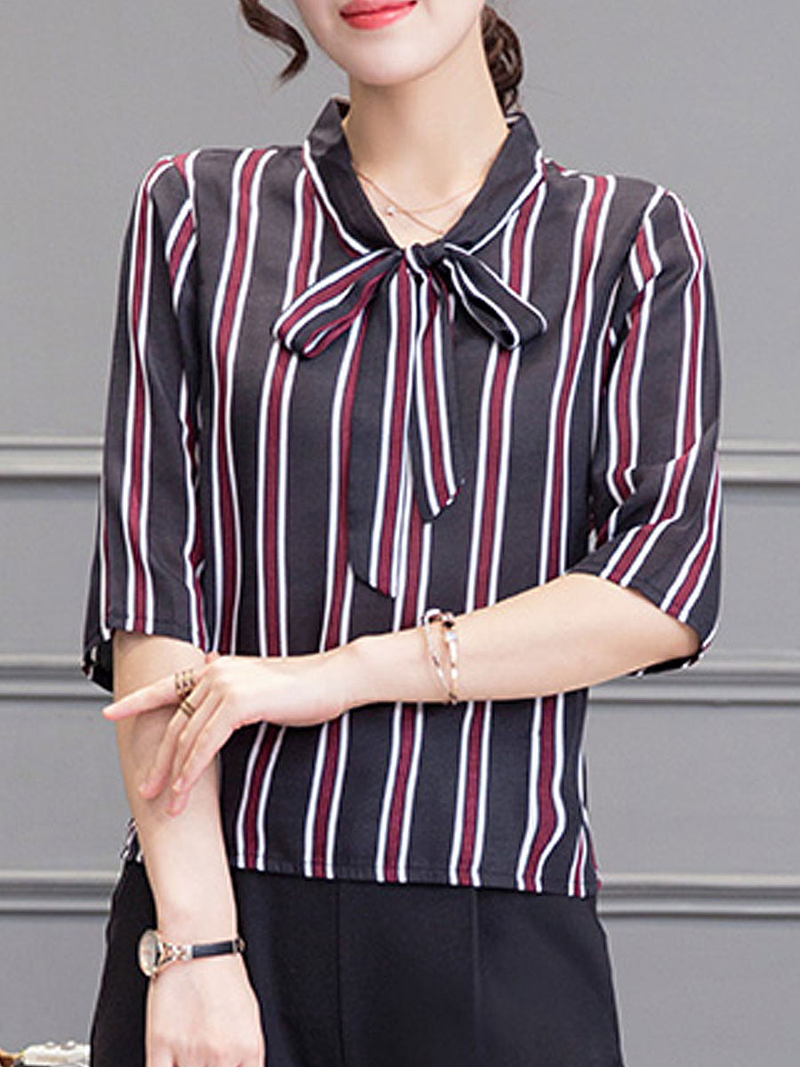 Summer  Cotton  Women  Tie Collar  Striped  Half Sleeve Blouses