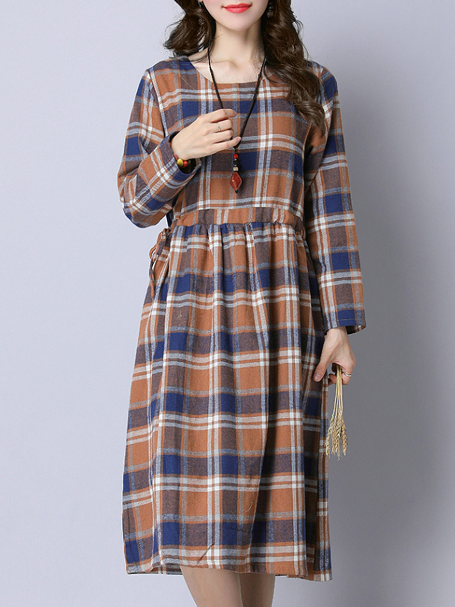 Round Neck  Drawstring  Plaid  Maxi Dress