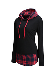 Designed Drawstring Patchwork Plaid Hoodie