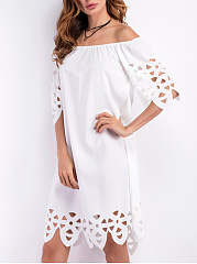 Off Shoulder Hollow Out Plain Shift Dress