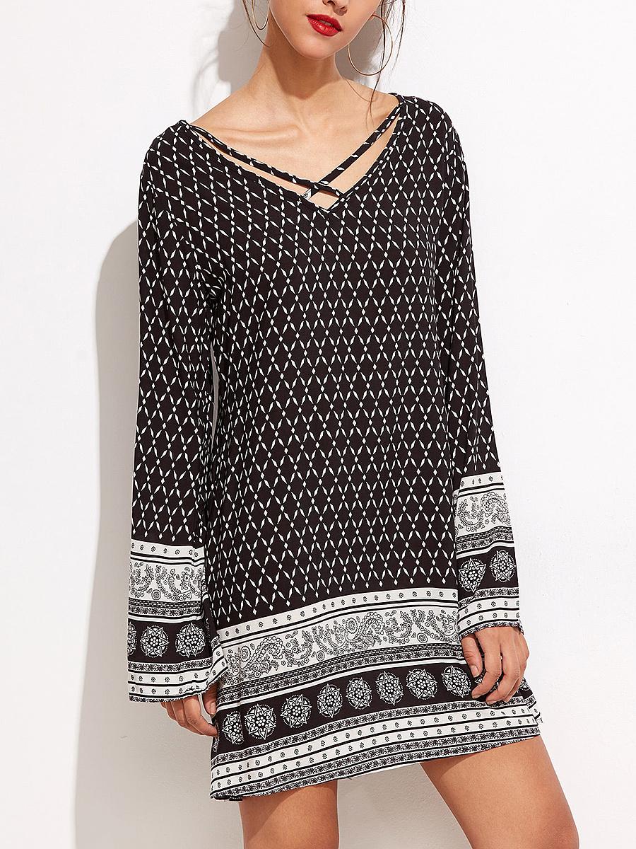 V-Neck Tribal Printed Shift Dress