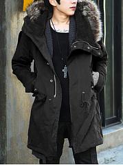 Hooded-Drawstring-Flap-Pocket-Vented-Plain-Men-Coat