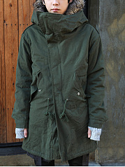 Hooded  Drawstring Flap Pocket Vented  Plain Men Coat