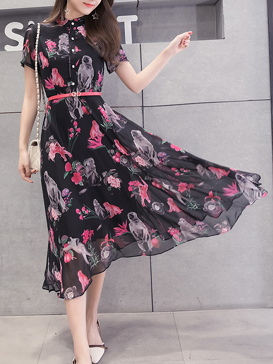 Band Collar Printed Chiffon Swing Maxi Dress