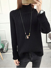 High Neck  Plain Striped Pullover
