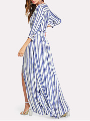 V-Neck  Elastic Waist Slit  Plain Maxi Dress
