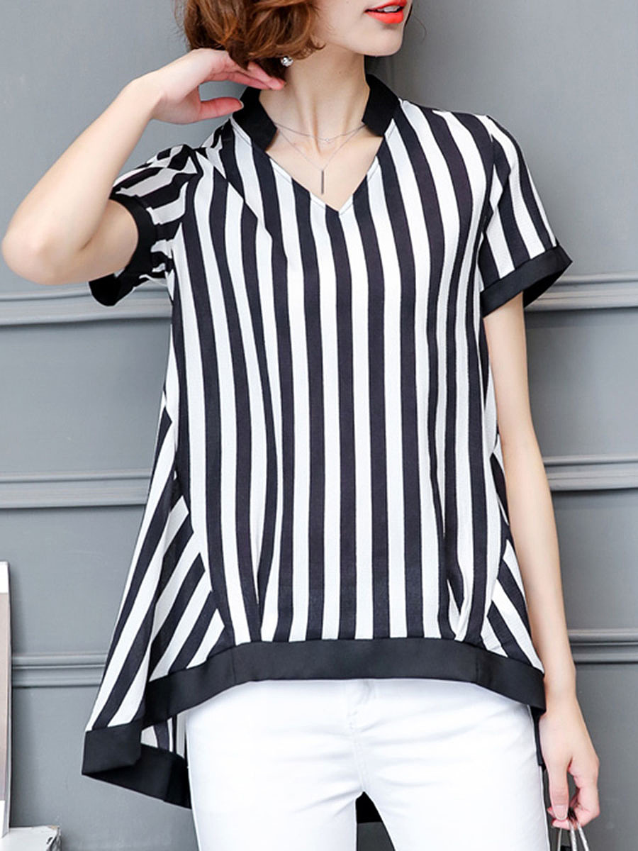 V-Neck  Striped High-Low Blouse