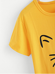 Animal Prints Plain Short Sleeve T-Shirts