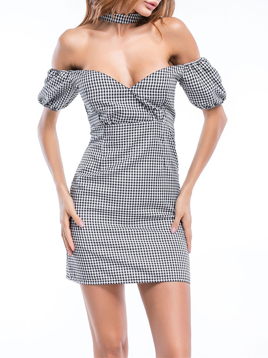 Halter Slit Plaid Mini Bodycon Dress