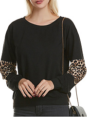 Round Neck  Loose Fitting Patchwork  Leopard Long Sleeve T-Shirts