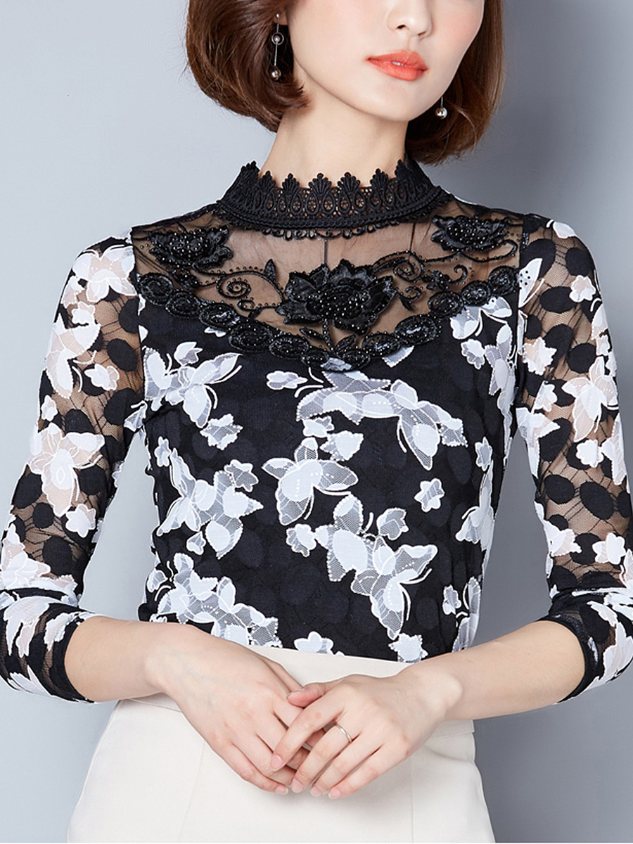 Band Collar See-Through Printed Long Sleeve T-Shirt