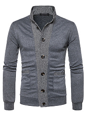 Band Collar Patch Pocket Color Block Men'S Cardigan