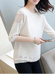 Round Neck  Patchwork See-Through  Hollow Out Plain  Three-Quarter Sleeve Sweaters Pullover