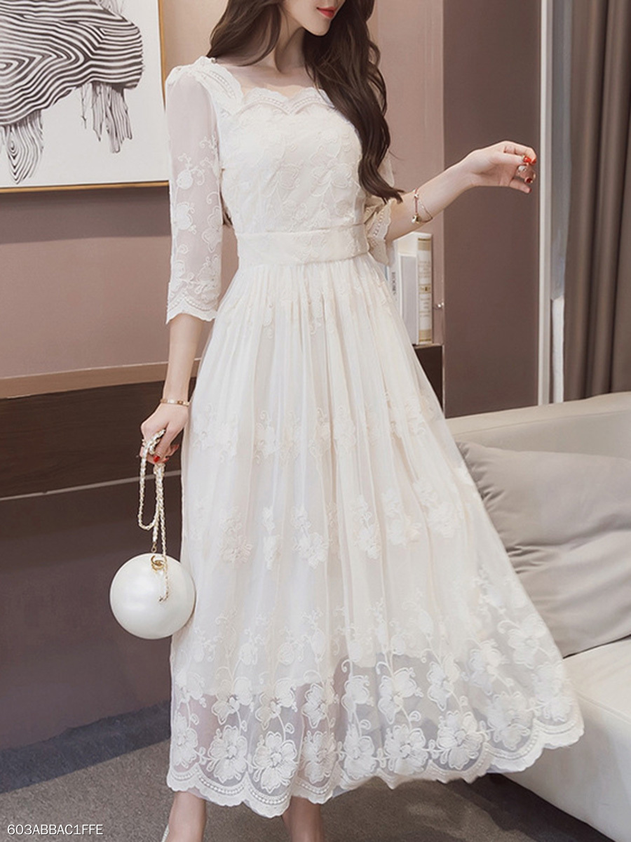 Solid Hollow Out Lace Maxi Dress