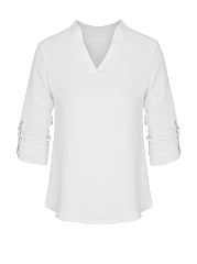 Basic V-Neck Solid Roll-Up Sleeve Blouse