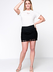 Solid Lace Mini Plus Size Skirt With Underpant