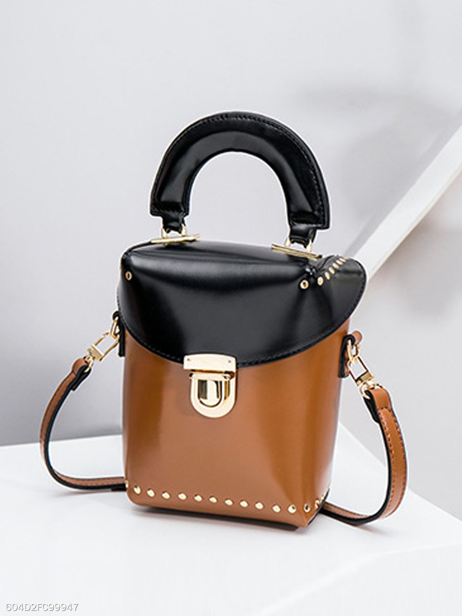 Color Block Rivets Crossbody Bag