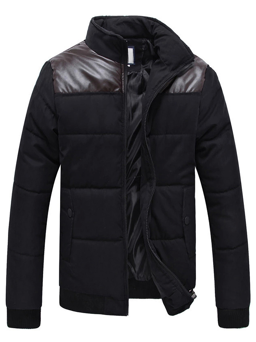 High Neck  Flap Pocket Patchwork Men Padded Coat