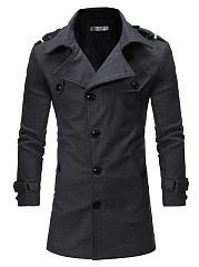Lapel-Men-Plain-Belt-Single-Breasted-Woolen-Coat