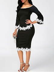 Decorative Lace Bell Sleeve Round Neck Bodycon Dress
