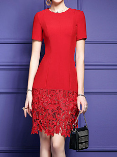 Round Neck  Plain Bodycon Dress  Lace