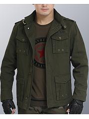 High-Neck-Plain-Flap-Pocket-Men-Coat