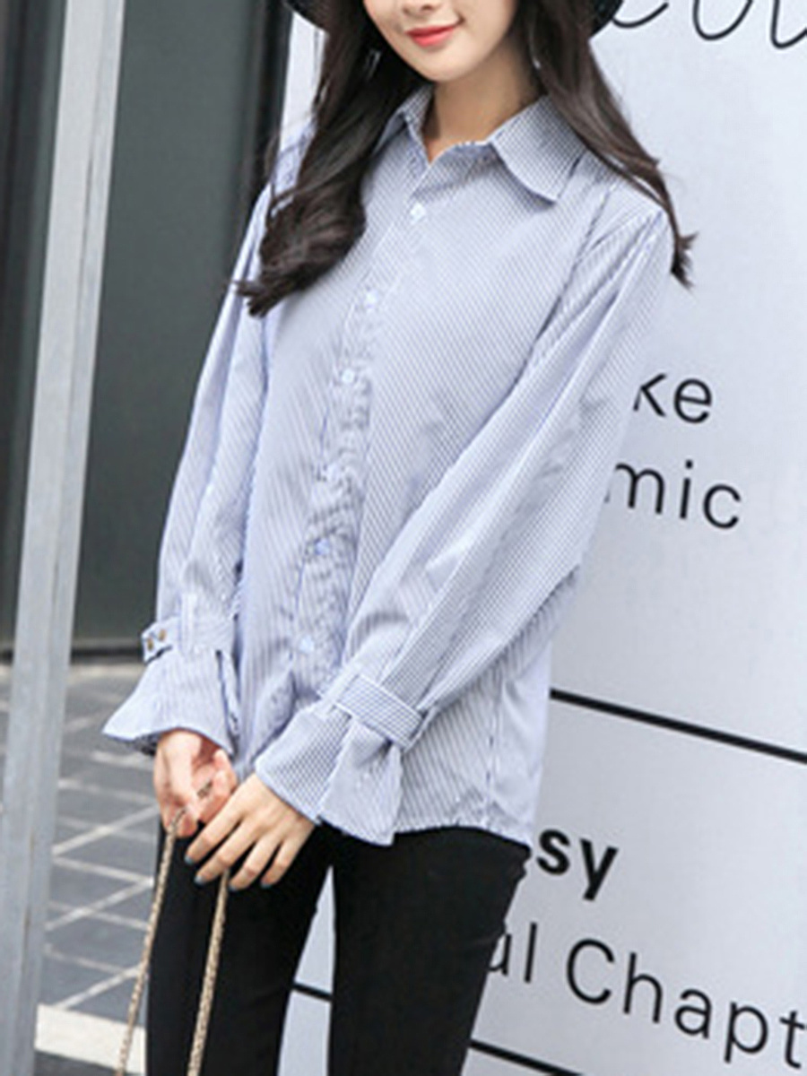 Turn Down Collar Pinstripe Long Sleeve T-Shirt