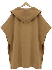Oversized Hooded Pocket Woolen Plain Coat