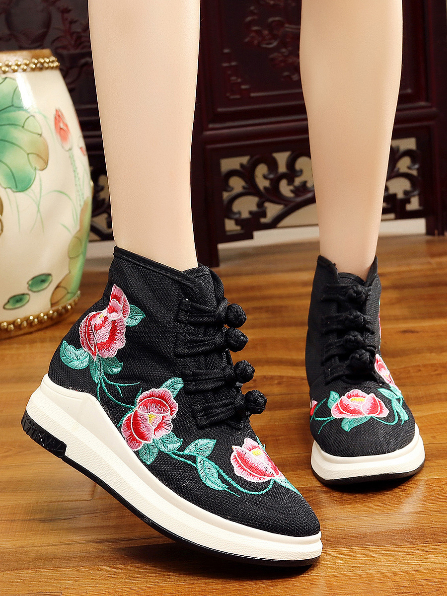 Embroidery High-Cut Sneakers