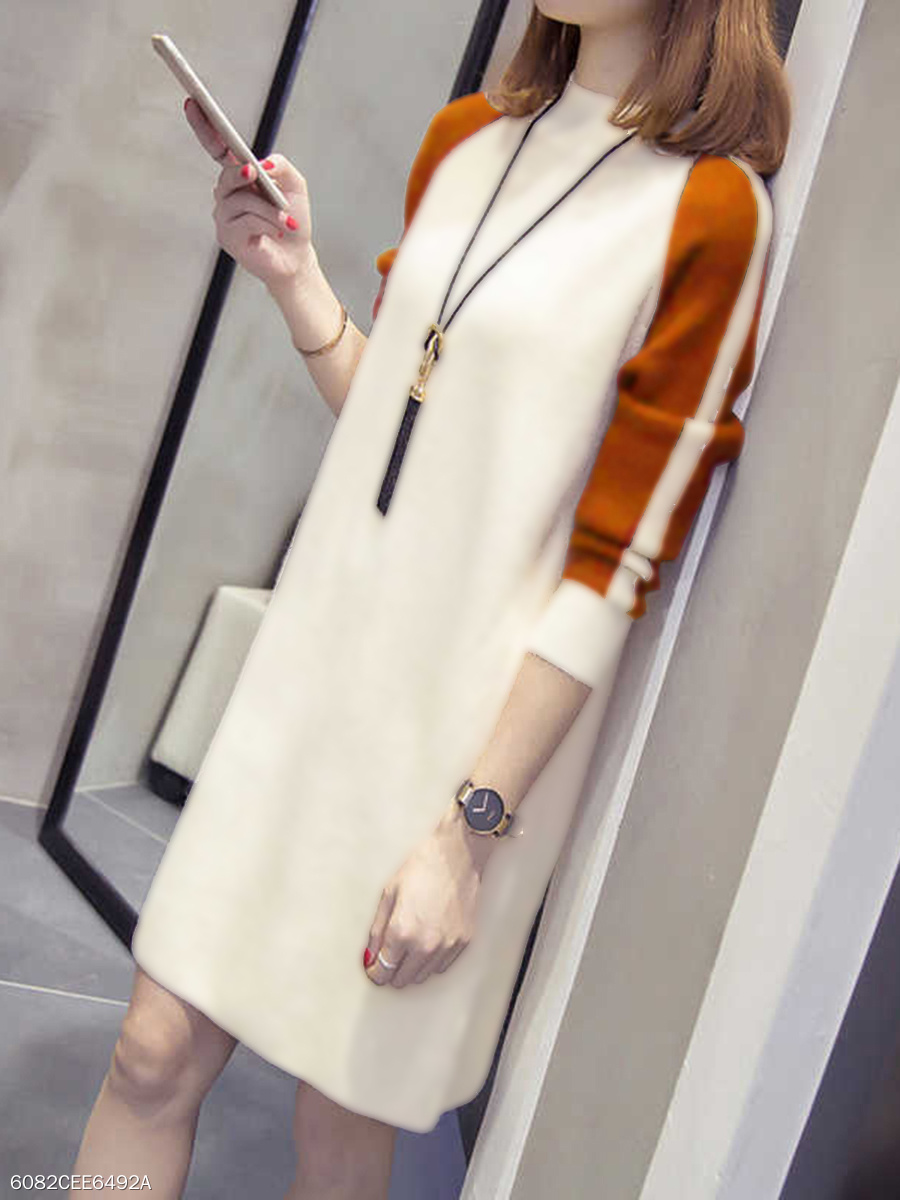 Band Collar Color Block Raglan Sleeve Shift Dress
