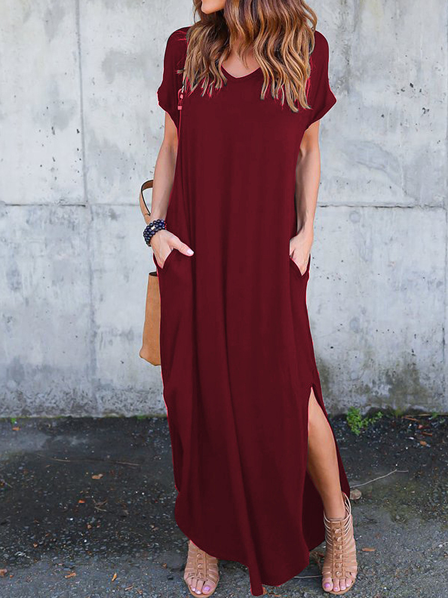 V-Neck  Slit  Plain Maxi Dress