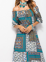 Off Shoulder  Elastic Waist  Printed Maxi Dress