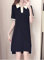 Turn Down Collar  Color Block Shift Dress