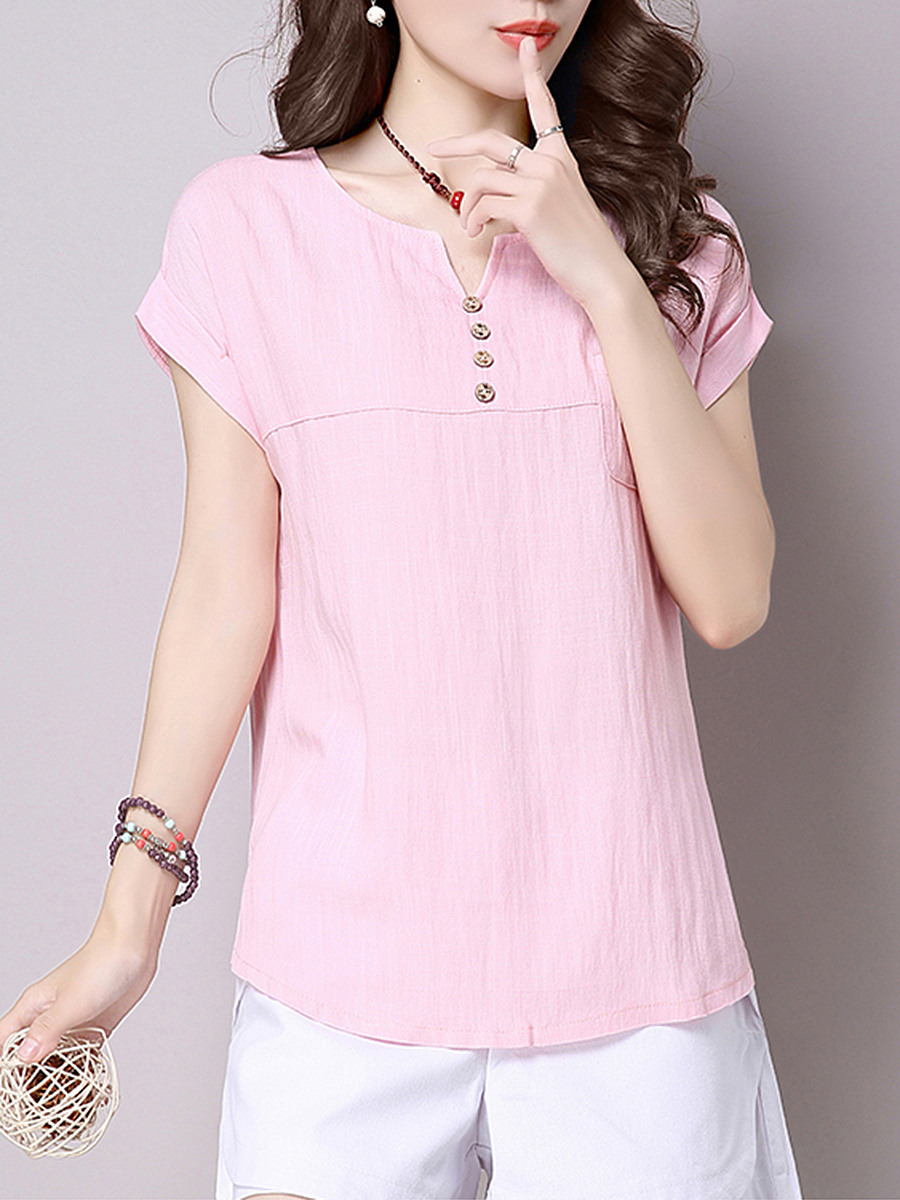 Split Neck Decorative Button Plain Cuffed Short Sleeve T-Shirt