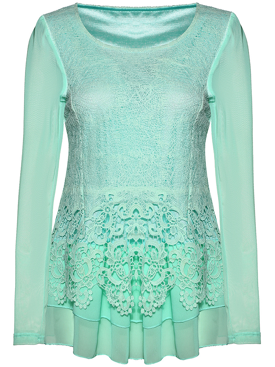 Decorative Lace Hollow Out Round Neck Plain Blouse