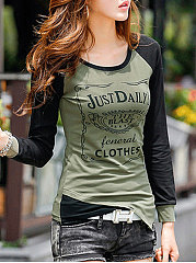 Autumn Spring  Cotton  Women  Round Neck  Letters Long Sleeve T-Shirts