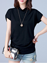 Spring Summer  Cotton  Women  High Neck  Plain Blouses