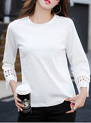 Autumn Spring Summer  Cotton  Women  Round Neck  Hollow Out Plain  Three-Quarter Sleeve Long Sleeve T-Shirts