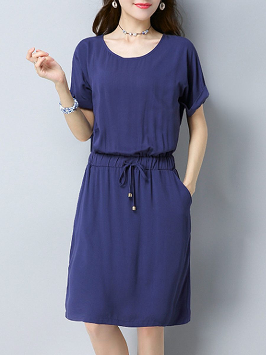 Round Neck Solid Elastic Waist Pocket Shift Dress
