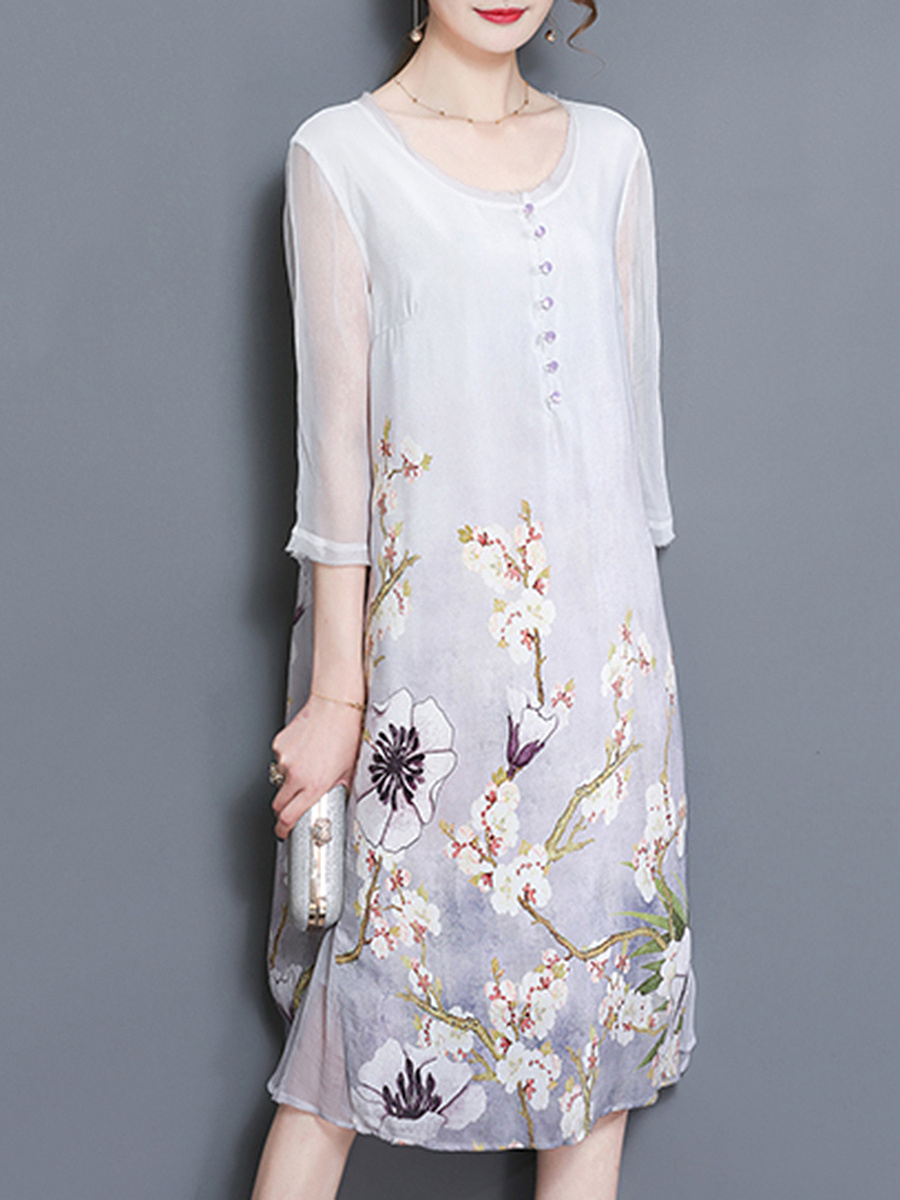 Round Neck Floral Printed Chiffon Midi Shift Dress