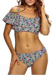 Flounce-Open-Shoulder-Printed-Bikini