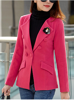 Notch Lapel Plain Brooch Woolen Blazer