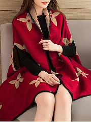 Lapel  Two Way  Bohemian Geometric Printed  Cape Sleeve Cape