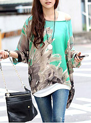 See-Through Printed Batwing Sleeve Tunic